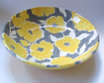 Big pottery Serving Bowl for pasta, salads, snacks -- whimsical Gray & yellow with polka-dots flowers