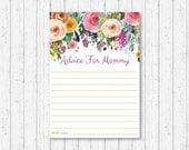 Floral Mommy Advice Cards...