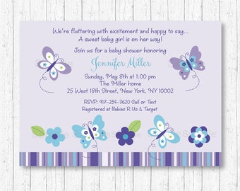 Cute Butterfly Baby Shower Invitation / Butterfly Baby Shower Invite / Purple Butterfly / Aqua & Purple / Baby Girl Shower / PRINTABLE