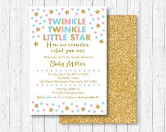 Twinkle Twinkle Little Star Gender Reveal Invitation / Twinkle Star Gender Reveal / Gold Glitter Stars / Gender Reveal Party / PRINTABLE