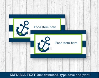 Cute Nautical Food Tent Cards / Food Labels / Place Cards / Nautical Baby Shower / Anchor Baby Shower / INSTANT DOWNLOAD Editable PDF