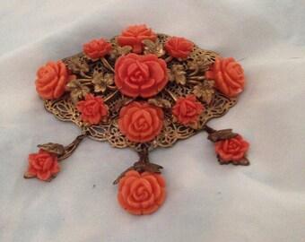 Vintage coral rose brooch