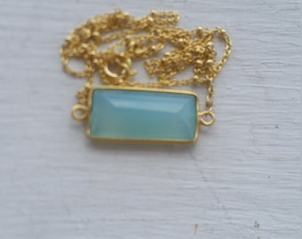 Chalcedony Stone Pendant Bar Gold Bezel Gold Vermeil Chain Necklace