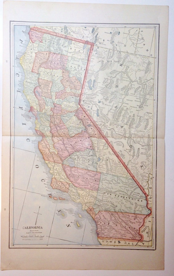 Original 1891 California Map