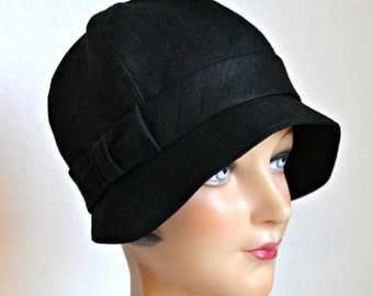 Black Linen Cloche with Bow - 1920s Cloche Hat - Made to Order - 3 WEEKS FOR SHIPPING