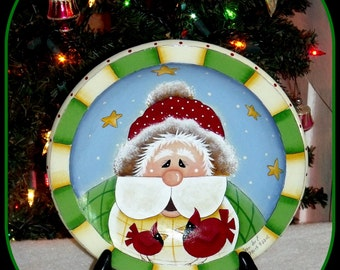 """Hand Painted 9"""" Folk Art - Primitive Santa and Red Birds Wooden Plate/Bowl - Home Decor - Holiday Decor - Mixed Media - Decorative Painting"""