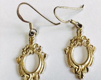 Sterling Silver Pierced Dangle Earrings Lightweight Vintage