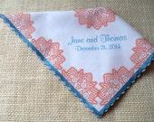 Monogram handkerchief, coral and royal blue wedding, personalized handkerchief, wedding gift, wedding memento, wedding handkerchief