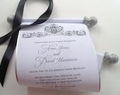Elegant black and white wedding invitation scroll, antique damask,  SAMPLE