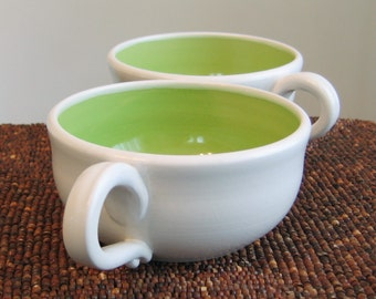 Soup Mugs - Set of 2 Large Stoneware Pottery Coffee Cups in Lime Green