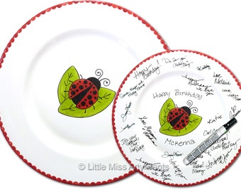 11 inch Ready to Ship - Hand Painted Signature Birthday Plate - Ladybug Design