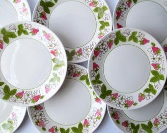 Vintage Mikasa Carlsberry Focus Shape Salad Plates Set of Eight - Cottage Chic