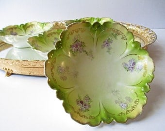 German Dessert Bowls Purple Green Floral Set of Four - Dainty Vintage
