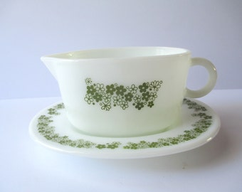 Vintage Pyrex Spring Blossom Green and White Gravy Boat and Underplate
