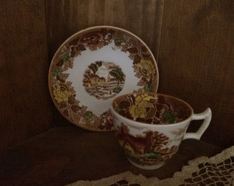 Enoch Woods English Scenery Brown Transferware Demitasse Cup Saucer