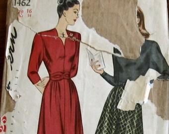 1940s Vintage Sewing Pattern Womens Dress Pattern With 2 Necklines Swing Era Dress Simplicity 1462 Sz16