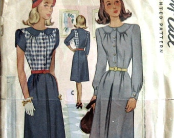 Vintage Sewing Pattern 1940s Womens Dress Pattern McCall 6175 Sz 13