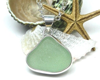 Seafoam Bezel Set Sea Glass Pendant | Sterling Silver | Sea Glass | Beach Glass | Seaglass Pendant | Seafoam Necklace | Necklace |