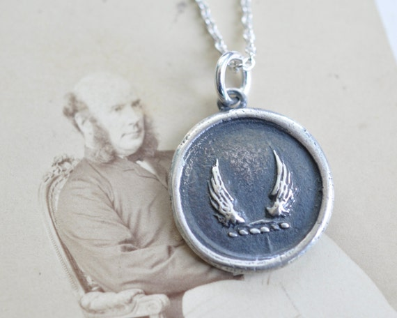 wings wax seal necklace ... soar, swiftness, protection - inspirational gift - sterling silver antique wax seal jewelry
