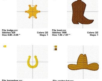 Cowboy Set Mini Designs - Embroidery design - INSTANT DOWNLOAD - jef exp dst sew vip hus pes xxx