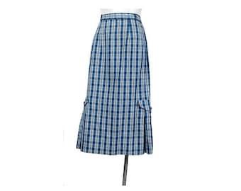 SALE Vintage 50s Skirt - 50s Plaid Skirt - Rockabilly - Blue White Black - 50s Shadow Plaid - 50s Rockabilly Skirt - Pencil Skirt - Pleated