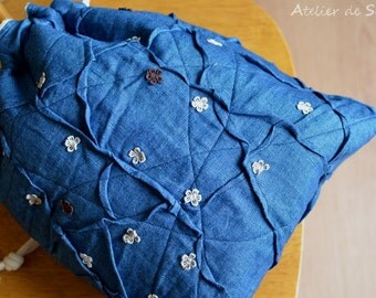 Drawstring bag Knitting Bag Craft Bag Project bag Sock Bag Lunch Bag in Jean Blue