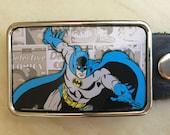 Batman Belt buckle for men or women.  Handcut from vintage tin.  Sweet gift for men!