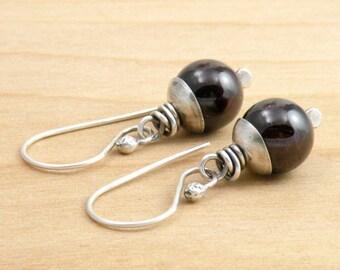 Red Garnet Earrings, Deep Red Gemstone, January Birthstone, Sterling Silver, January Birthday, Dangle Earrings, #4664