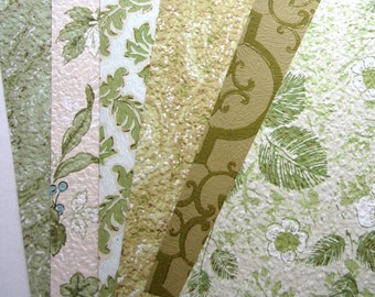 6 Sheets Vintage 8 x 10 Wallpaper 1950s 1960s GREENS