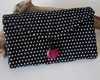 Jewelry Organizer, Travel Jewelry Wallet, Clear Pocket Organizer, Black and White Polka Dot Fabric, Jewelry Tote, Red Lady Bug Button