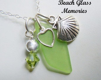 Green Sea Glass Necklace - Shell Seaglass Jewelry - Beach Glass Pendant