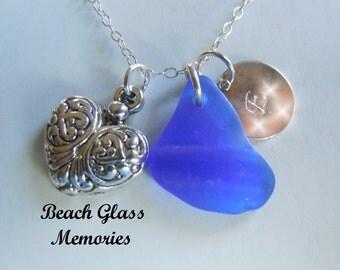 Valentine Personalized Necklace Beach Sea Glass Jewelry Monogrammed Initial Necklace Hand Stamped