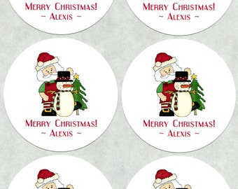 40 Personalized Christmas Stickers - Gift Stickers - Holiday Stickers - Cookie Stickers - Candy Stickers - Santa With Snowman And Tree