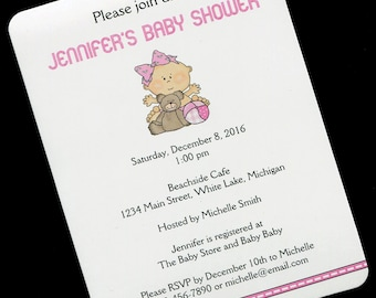 Baby Shower Invitations - Baby Girl Shower Invitation - Personalized Baby Shower Invitation - Baby Girl With Teddy Bear And Ball - Set of 20