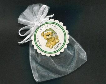 Personalized Christmas Gift Bag - Candy Bag - Christmas Favor Bag - Christmas Tag - Holiday Gift Bag - White Organza Bag - Bear