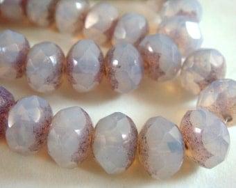 10 Czech Opal Picasso Beads Light Purple Glass Lilac Metallic Faceted Rondelle 8x6mm - 10 pc - G6041-LPM10