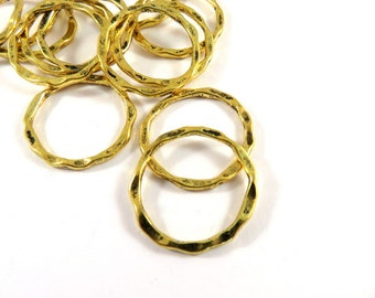 12 Hammered Linking Rings Antique Gold Color Tibetan Style Hoops 22x1.5mm - 12 pc - F4185LK-AG12