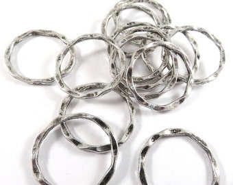 12 Antique Silver Hammered Linking Rings LF/NF Tibetan Style Hoops 22x1.5mm - 12 pc - F4185LK-AS12