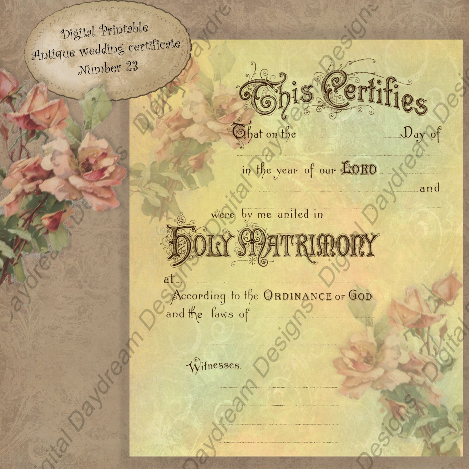 It is an image of Exceptional Printable Marriage Certificate