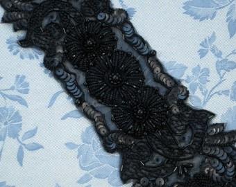Large Black Beaded Applique Flower Victorian, Art Nouveau Style, Deco, Flapper