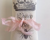 "Aqua Silk Lavender Sachet with ""Queen Bee"" & Crown Graphic"