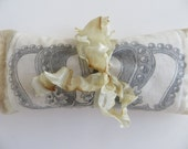 French Lavender Silk Sachet With Vintage Crown Graphic & Hand-Dyed Ribbon