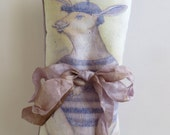 Lavender Silk Sachet with French Rabbit Graphic