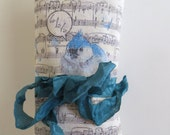 Natural Silk Lavender Sachet with Music & Bird Graphic