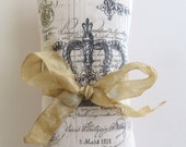 Pink Silk French Lavender Sachet with Crown & French Text, Gift For Her