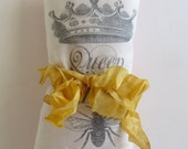 "Pink Silk Lavender Sachet with ""Queen Bee"" & Crown Graphic"