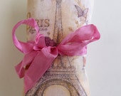 Natural Silk French Lavender Sachet with Eiffel Tower & Hand Dyed Ribbon