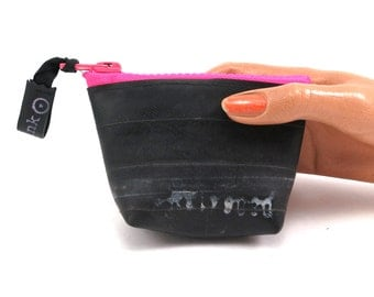 Recycled bicycle inner tube purse with neon pink zipper and bottom, top quality.