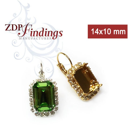 49e83d24ad14 2pcs Octagon 14x10mm Bezel Earrings For Setting w  Crystal Rhinestones fit  Swarovski 4610 Choose Your Finish (LBOC14CRYV)