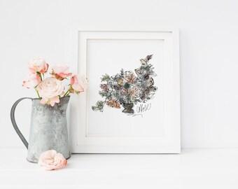 Moody Garden Bouquet Art Print